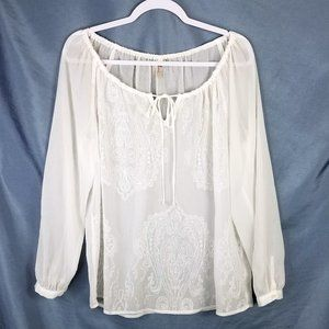 KUT White Sheer Embroidered Blouse